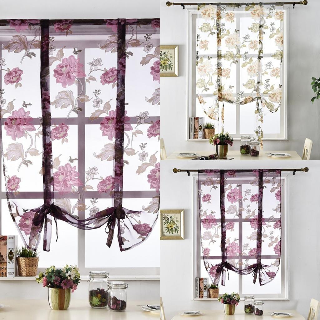 80 * 100cm Polyester Verlike Blume r/ömischen Vorh/änge K/üche Volant T/üll Sheer Panel Schlafzimmer Fenster Tuch gelb