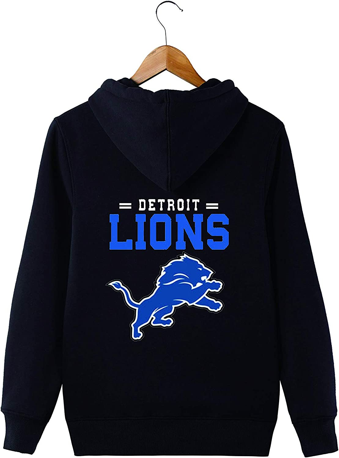 JJCat Mens Long Sleeve Hooded Letters Print Detroit Lion Football Team Solid Color Zipper Hoodies