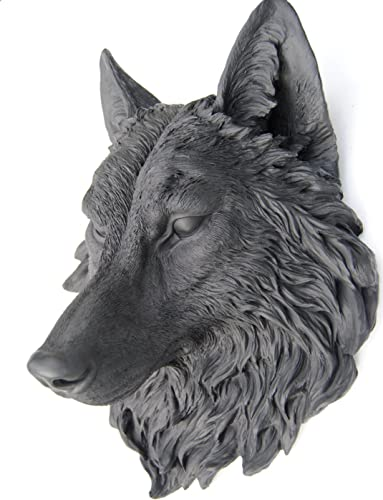 Near and Deer Faux Taxidermy Wolf Head Wall Mount, Black