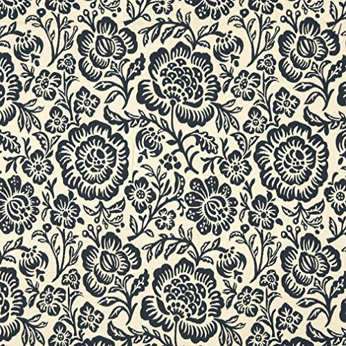 F407 Navy Blue And Beige Floral Matelasse Reversible Contemporary Upholstery Fabric By The ()