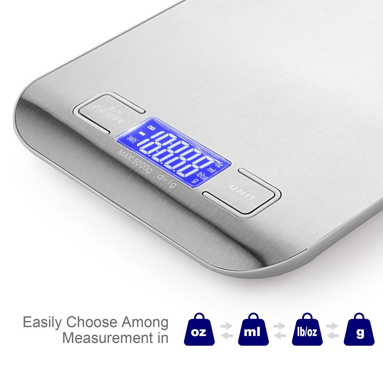 AMANKA Báscula Digital para Cocina de Acero Inoxidable,5 kg / 11 lbs Smart Digital Báscula para Hogares, Cocinas, Oficinas, Sala de Correo y Mucho Más: ...