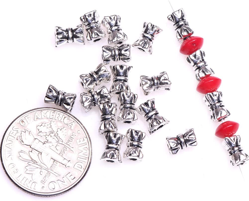 45pcs Silver Bow European Charm Crystal Spacer Beads Fit Necklace Bracelet NEW