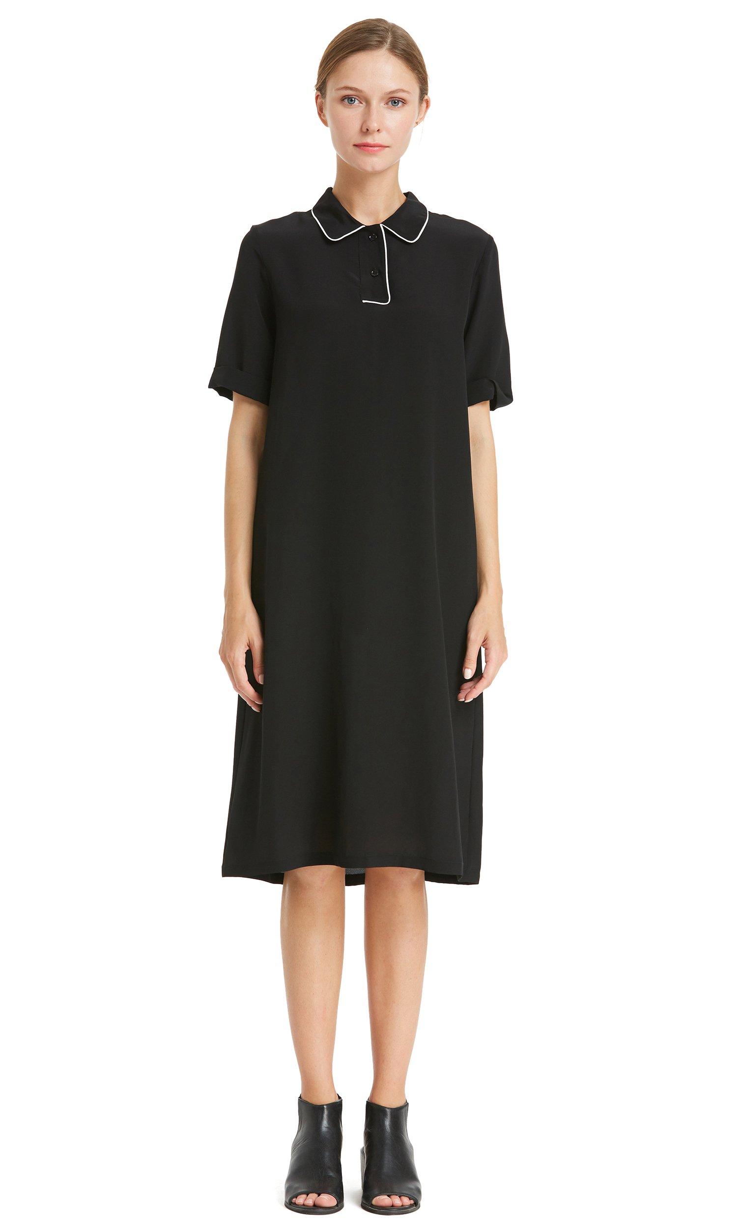 LilySilk Silk Dress For Women 18MM Polo Buttons Shift Short Sleeve Office Work Wear Black L/12