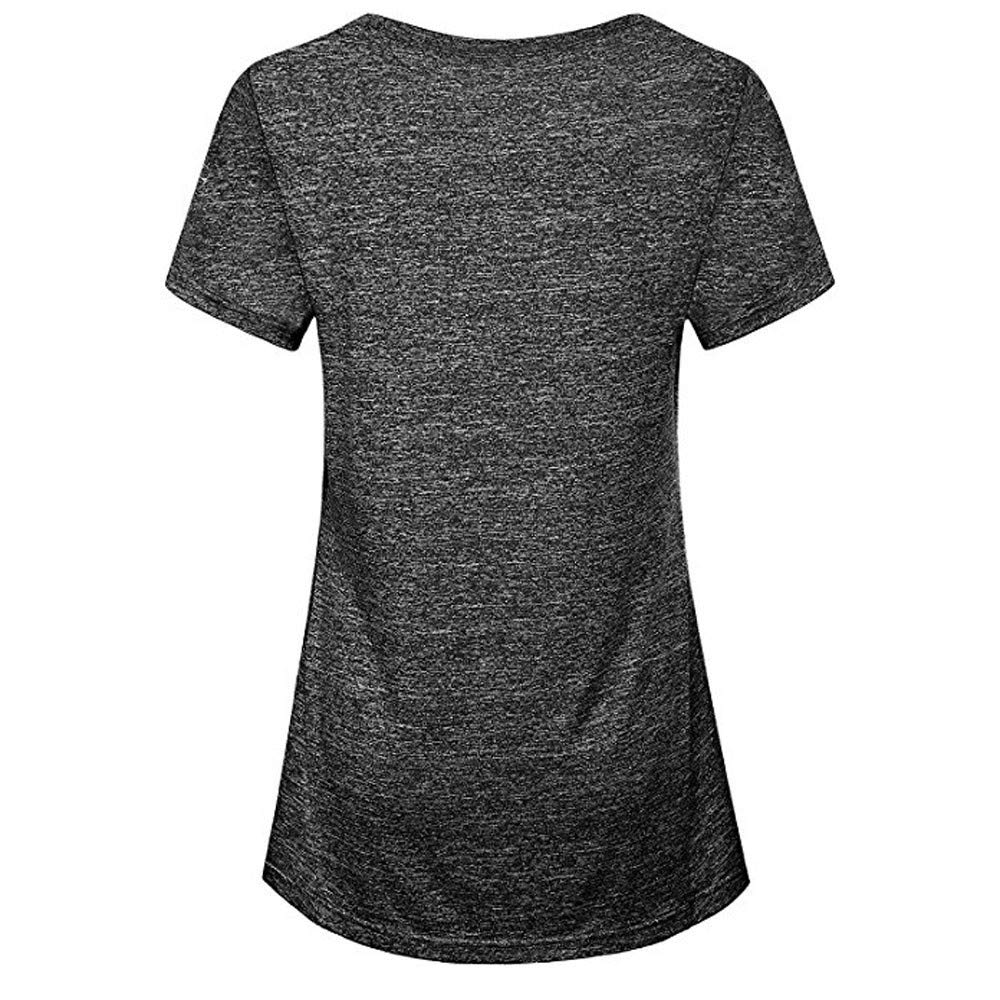 Lmtime Fahsion Calsual Blouse Womens Short Sleeve Yoga Tops Activewear Running Workout T-Shirt