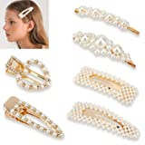 Pearl Hair Clips for Women Girls,6 Pieces Artificial Pearl Hair Pins Hair Barrette for Birthday Valentines Day Party Wedding Gifts