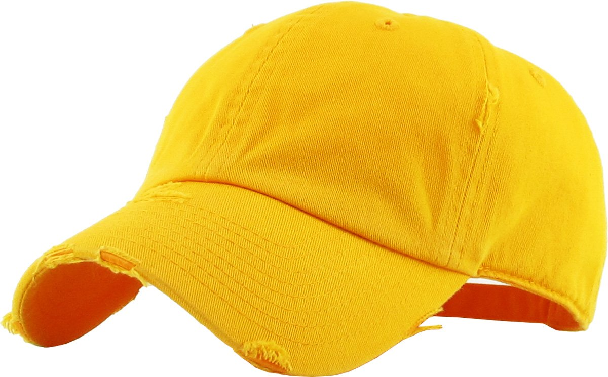 KBETHOS Vintage Washed Distressed Cotton Dad Hat Baseball Cap Adjustable Polo Trucker Unisex Style Headwear (Vintage) Gold Adjustable