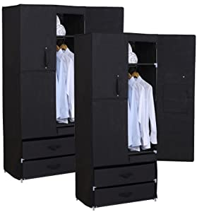 WOLTU SS5022SZ Set of 2 Folding Wardrobe Fabric Double Door Wardrobe 74X46X172 cm Fabric Wardrobe Hanging Rail, Black