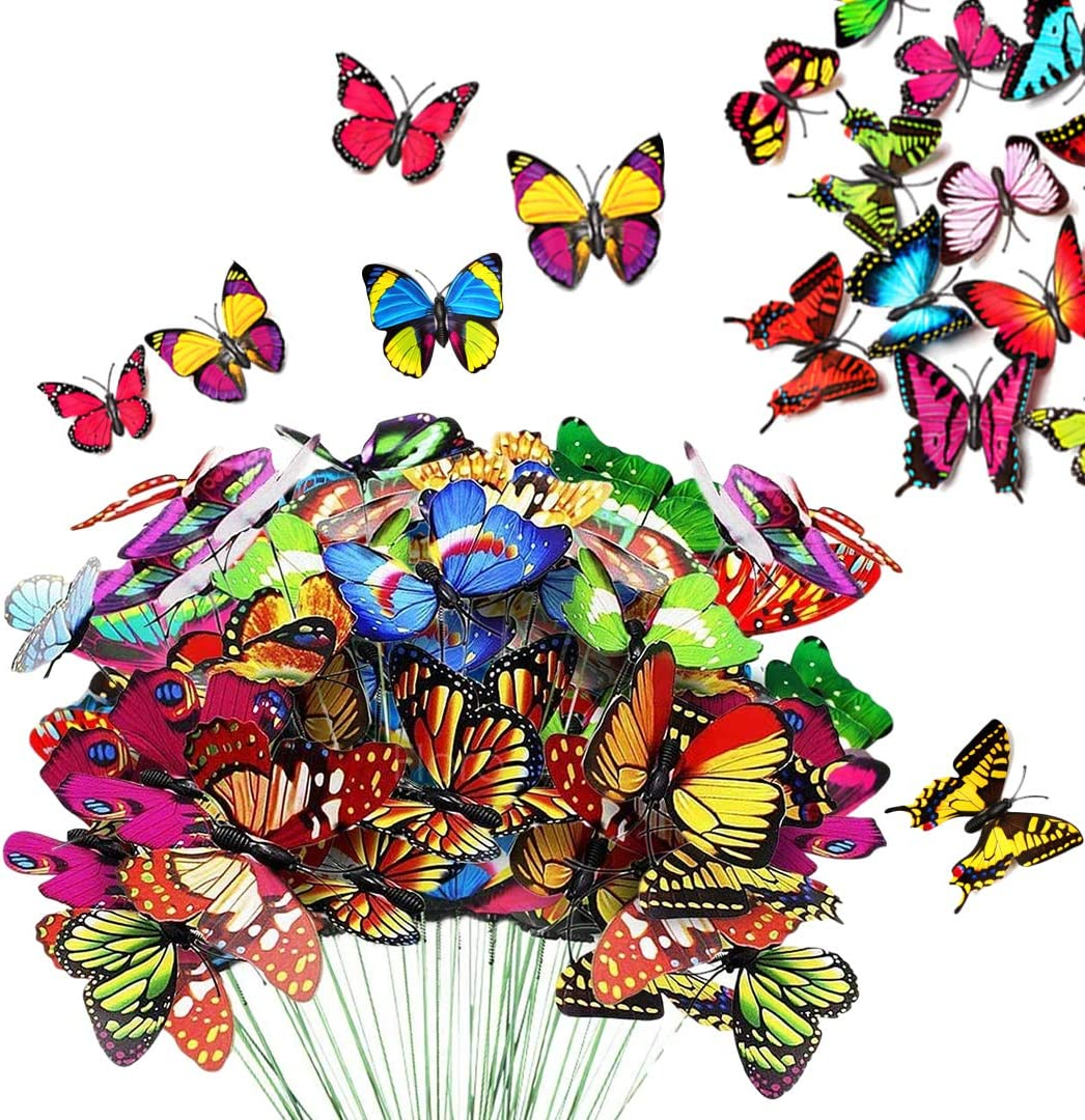 KATELER 80pcs Garden Butterfly Stakes & Butterfly Ornaments, Waterproof Butterfly Decorations for Indoor/Outdoor Wall, Yard, Patio Plant Pot, Flower Bed, Christmas Decoration
