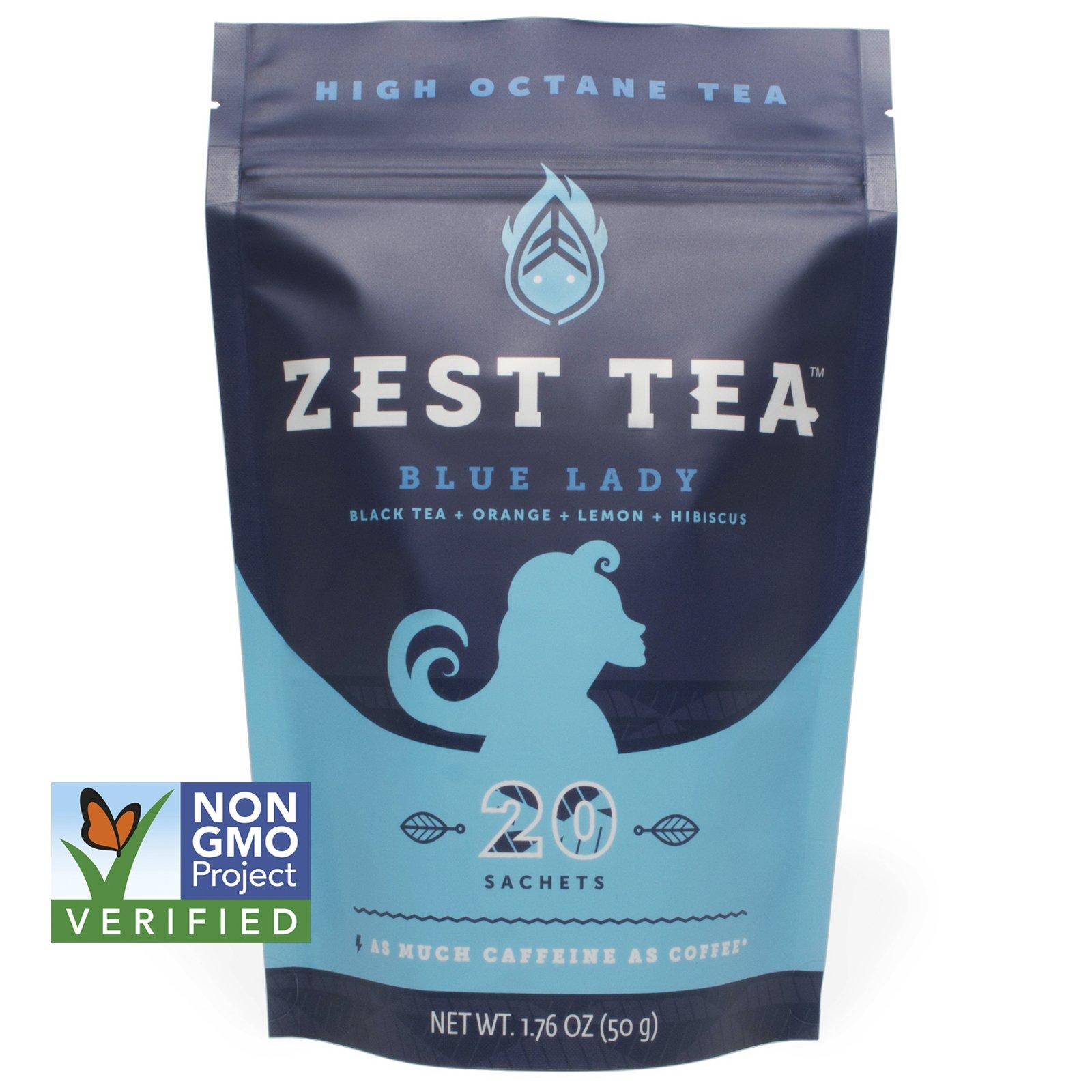 Blue Lady Black Energy Tea - High Caffeine Blend (3X Regular) - Healthy Coffee Substitute, Citrus and Hibiscus Flavor, 20 Sachet Package (50 Grams) by Zest Tea (Image #1)