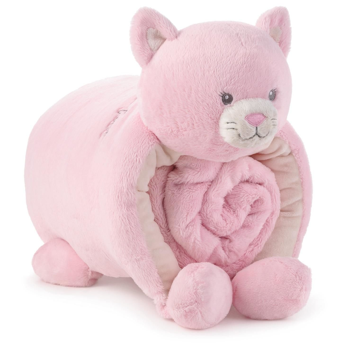 Hallmark Pink Kitty Pillow and Blanket Set