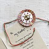 Raksha Bandhan Rakhi Traditional With Mother of Pearl Ring Crystal Decorated Satin Thread with Greeting Card