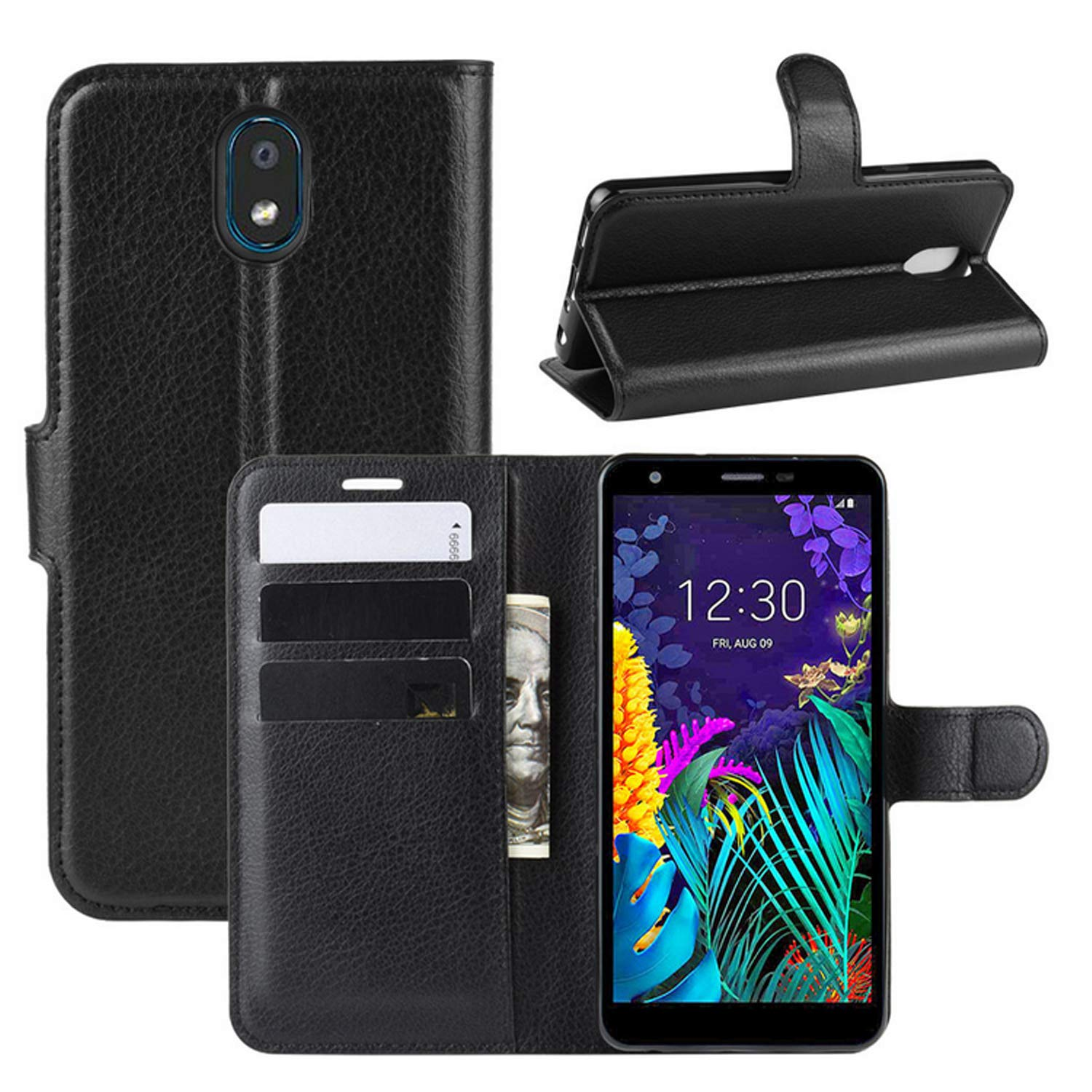 CHICASE LG K30 (2019)Case,LG Escape Plus/LG Arena 2/LG Journey LTE/LG Tribute Royal/LG X2 2019 Phone Case,PU Leather Wallet Flip Folio Cover with Kickstand Card Holders Magnetic Closure(Black)