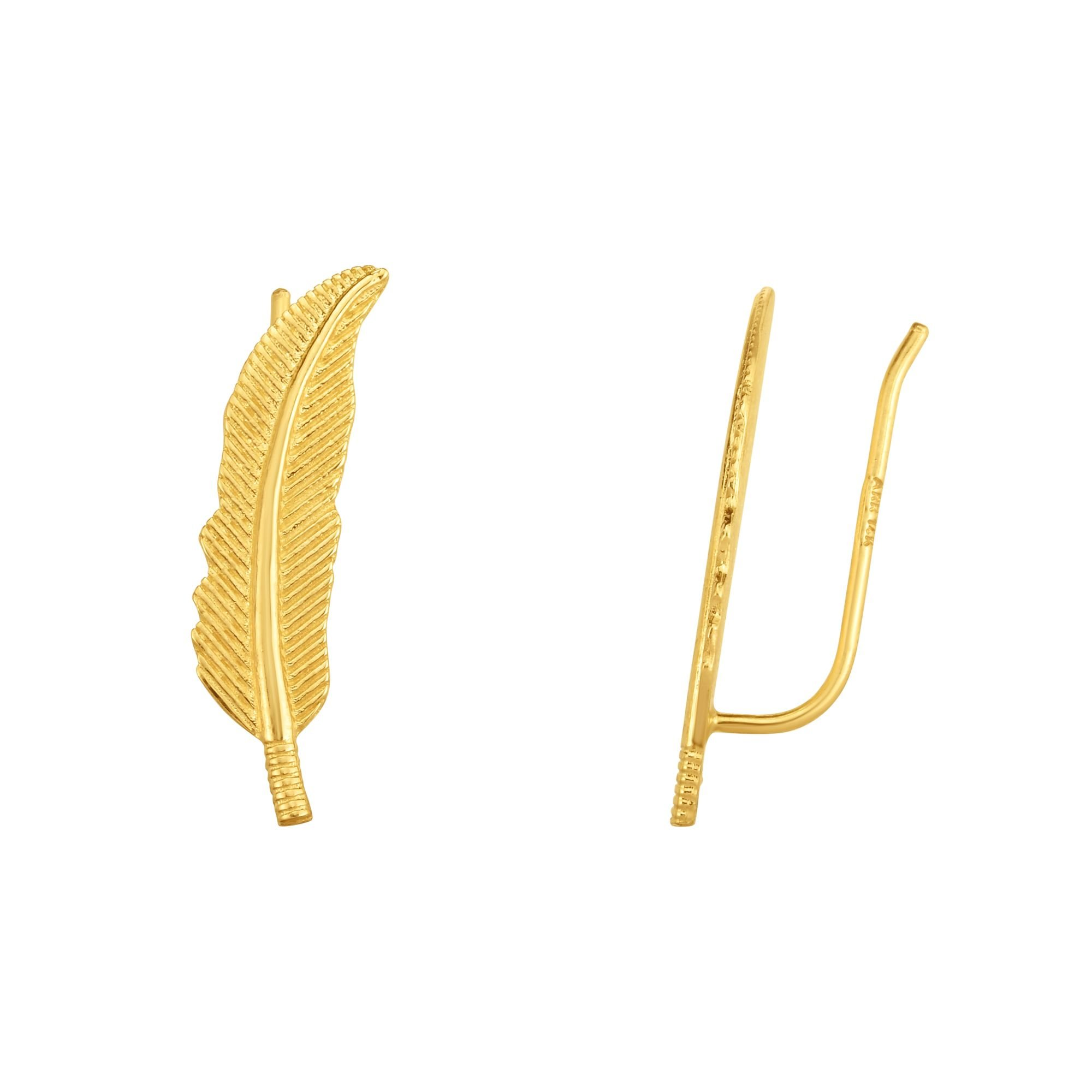 JewelStop 14k Yellow Gold 6x22mm Shiny And Textured Leaf Ear Climber Earrings