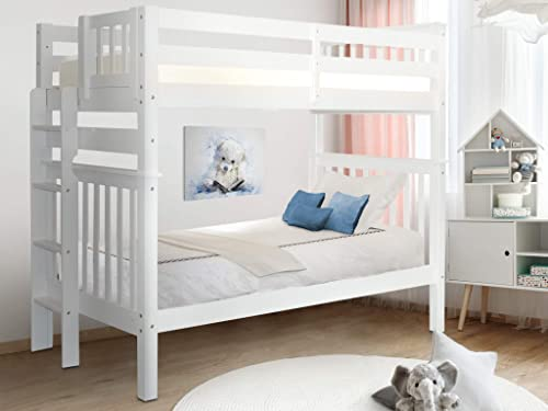 Bedz King Tall Bunk Beds Twin over Twin Mission Style