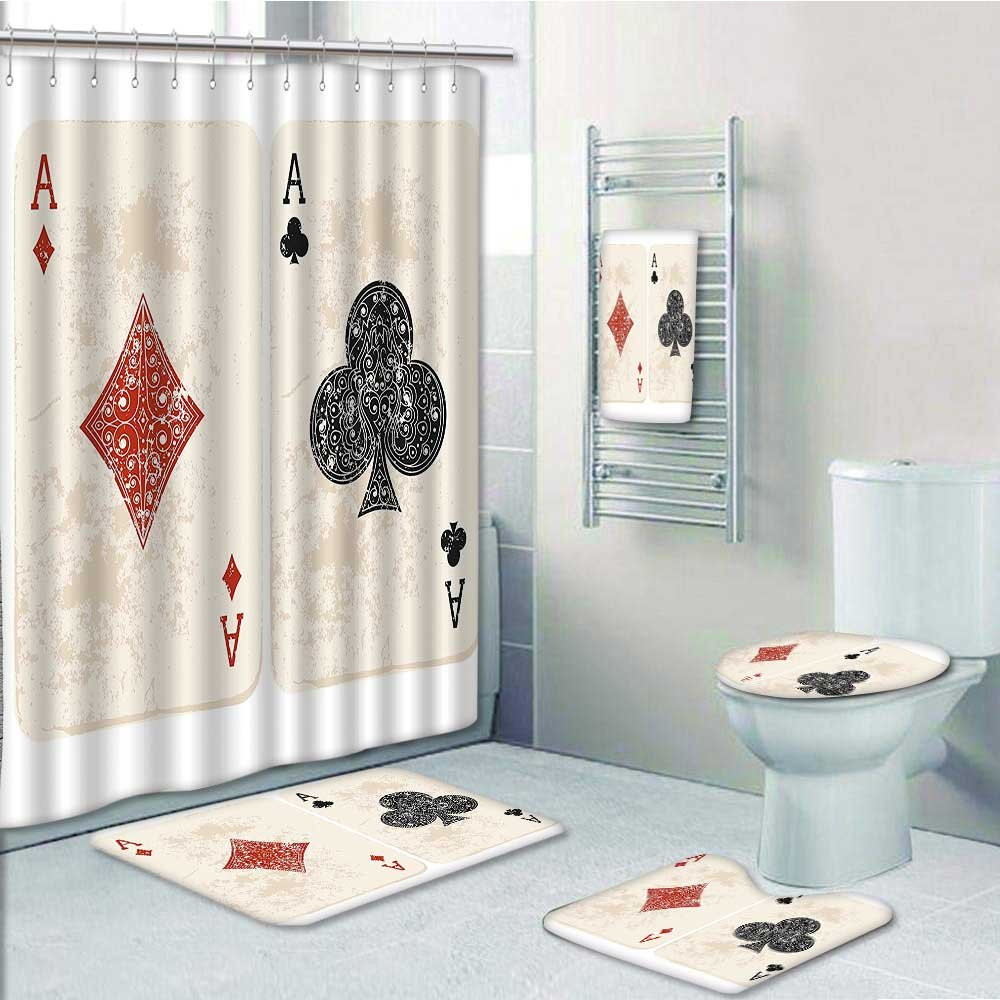 5-piece Bathroom Set-Includes Shower Curtain Liner, Clubs Poker Cards Game Gambling Fortune Cream RedPrint Bathroom Rugs Shower Curtain/Bath Towls Sets(Medium size)