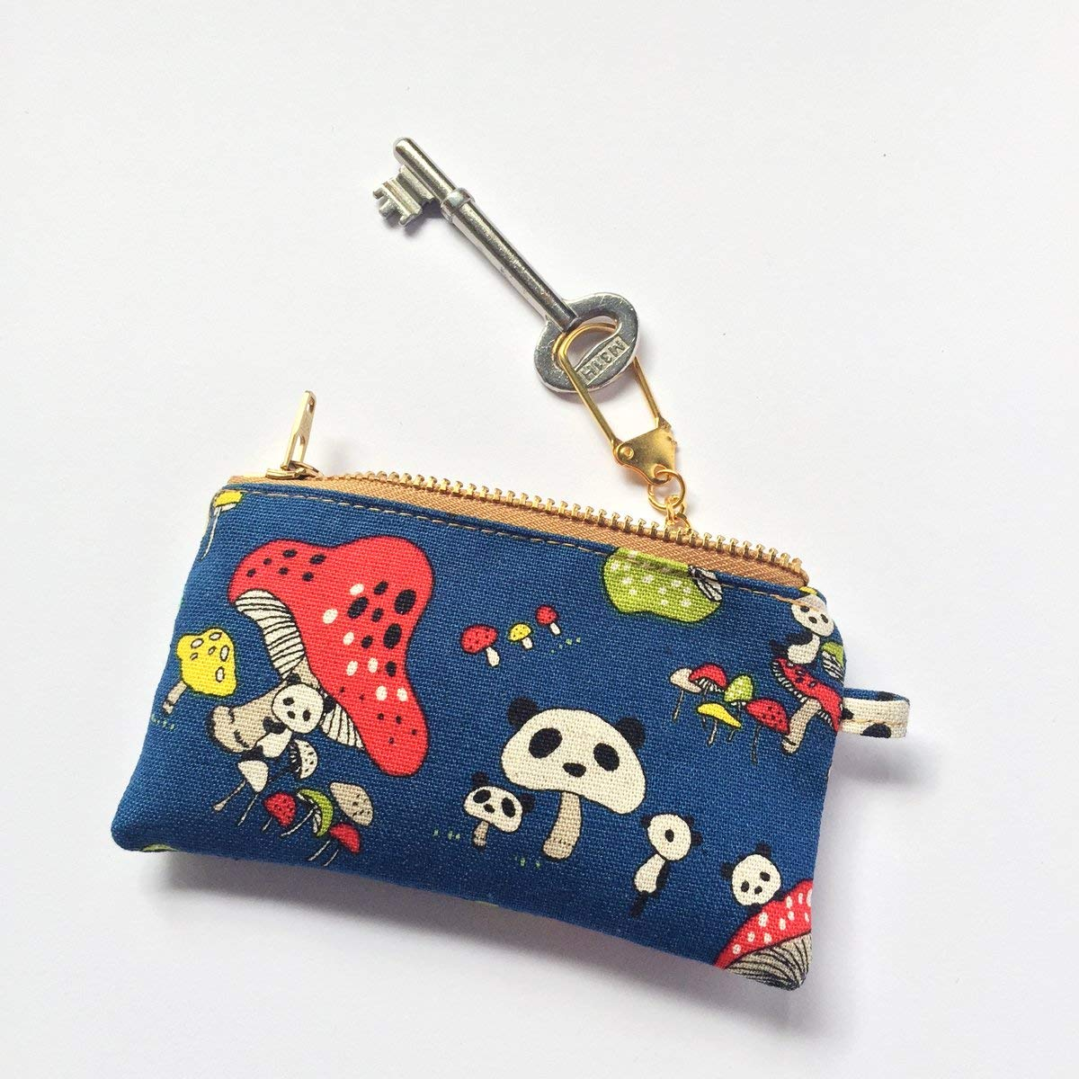 Panda Key Purse • Coin Pouch, Pocket Purse, Mini Zipper Pouch, Cute, Mushroom, Japanese Gifts For Her