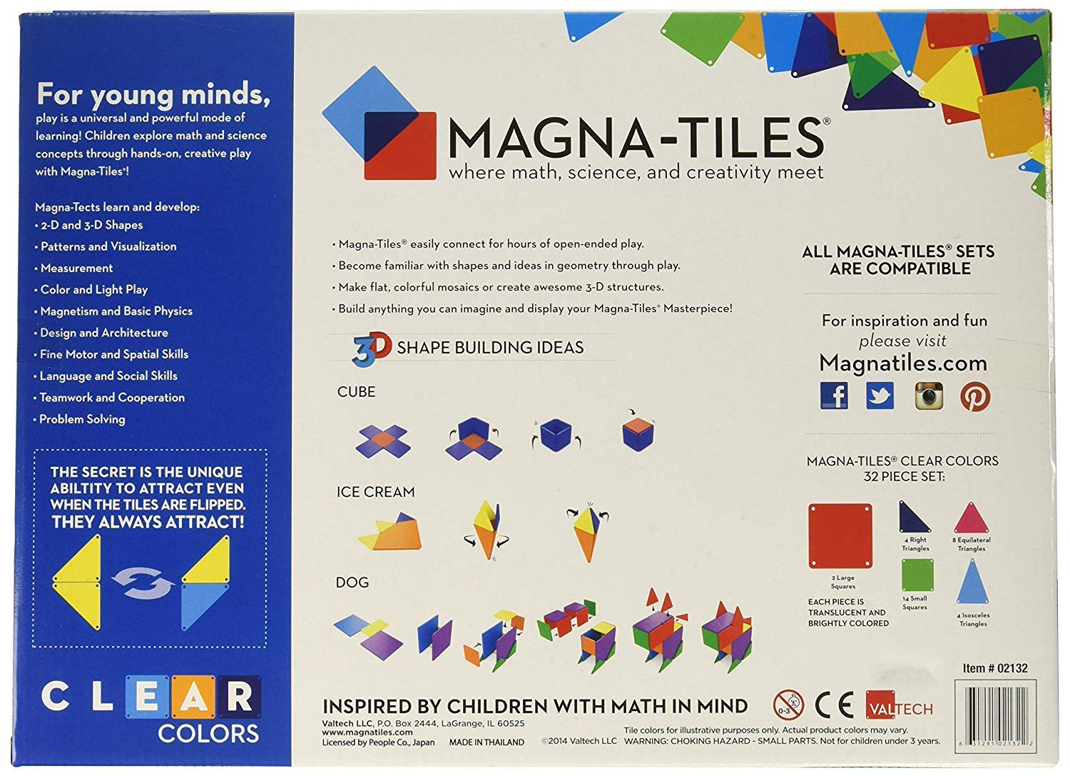 Magna-Tiles 32-Piece Clear Colors Set - The Original, Award-Winning Magnetic Building Tiles - Creativity and Educational - STEM Approved Bundled 8-Piece Rectangles Expansion Set - The by Magna-Tiles (Image #4)