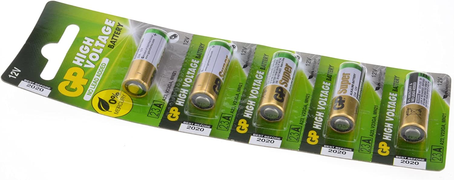 kenable GP High Voltage Battery 23A 12V for Remote Fobs 5 Pack