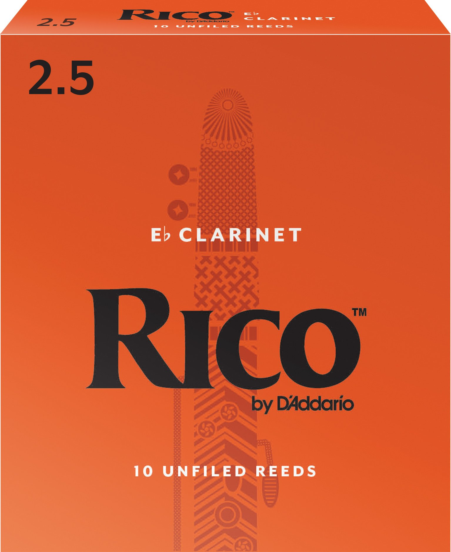 Rico by D'Addario Eb Clarinet Reeds, Strength 2.5, 10-pack