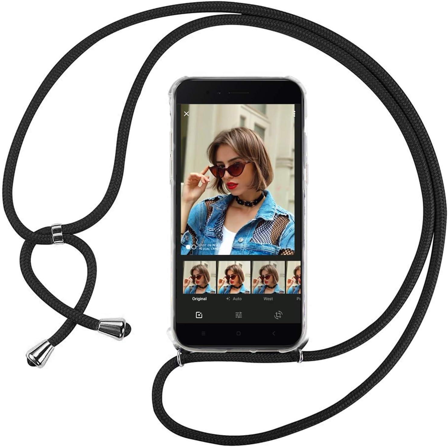 Ingen Funda con Cuerda para Xiaomi Mi A1 - Carcasa Transparente TPU Suave Silicona Case con Colgante - Negro