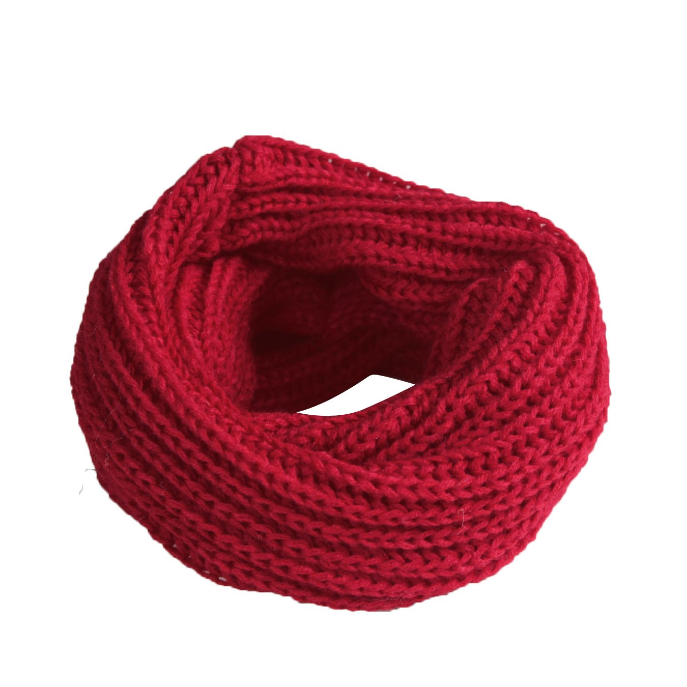 Imixshopcs Elegant Winter Fashion Soft Womens Mens Solid Knitted Wrap Neckchief Round Scarf (Pink)