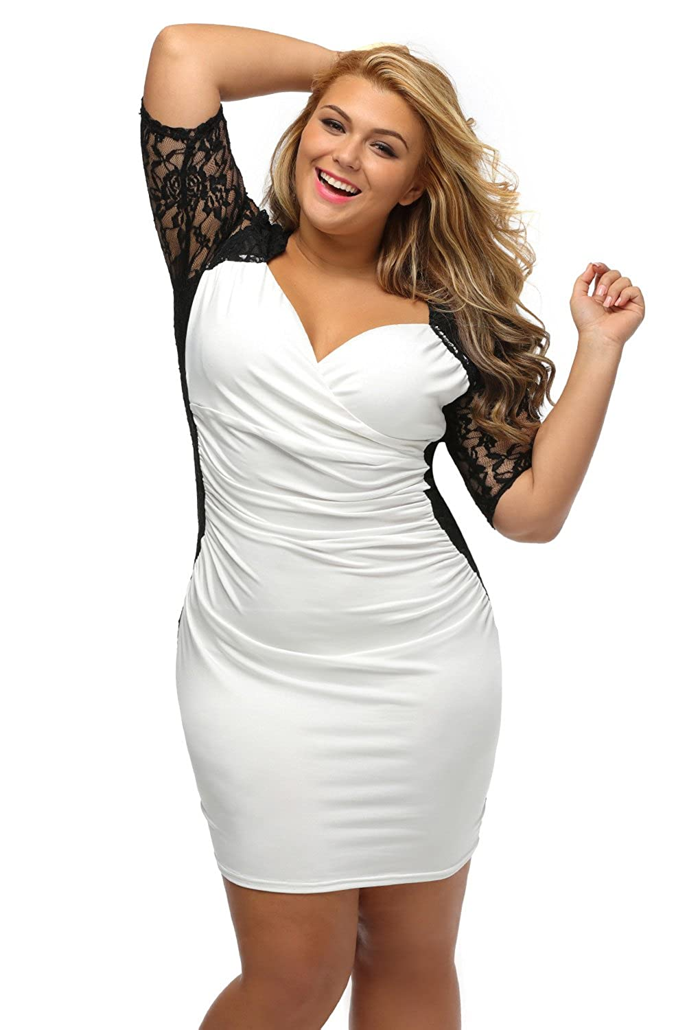 Lady Swain Womens V Neck Half Sleeve Ruched Lace Illusion Plus Size Bodycon Dress