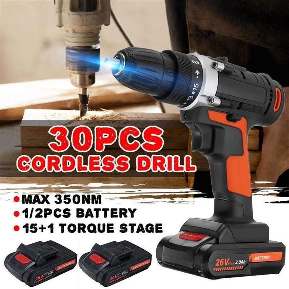 Color : 1x Battery Bigbarry Manejable 26V 350 NM el/éctrica Recargable Taladro Destornillador de la Potencia del Controlador de Herramientas de perforaci/ón Energ/ía El/éctrica Relajado