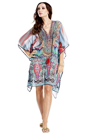 4fe4a91fd0 La Moda Clothing Multi Colored Sheer V-Neck Short Kaftan & Resort Wear Dress  | Kimono Sleeve Beach Wear Cover Up | by GOGA Swimwear at Amazon Women's ...