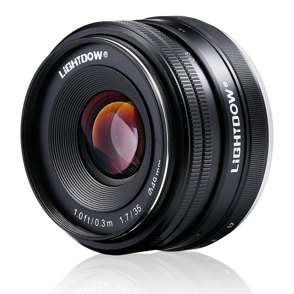 Lightdow 35mm F1.7-22 E-Mount APS-C Fixed Prime Lens Sony Alpha a6000 a6300 a6500 a5100 a5000 Mirrorless Digitial SLR Camera by Lightdow