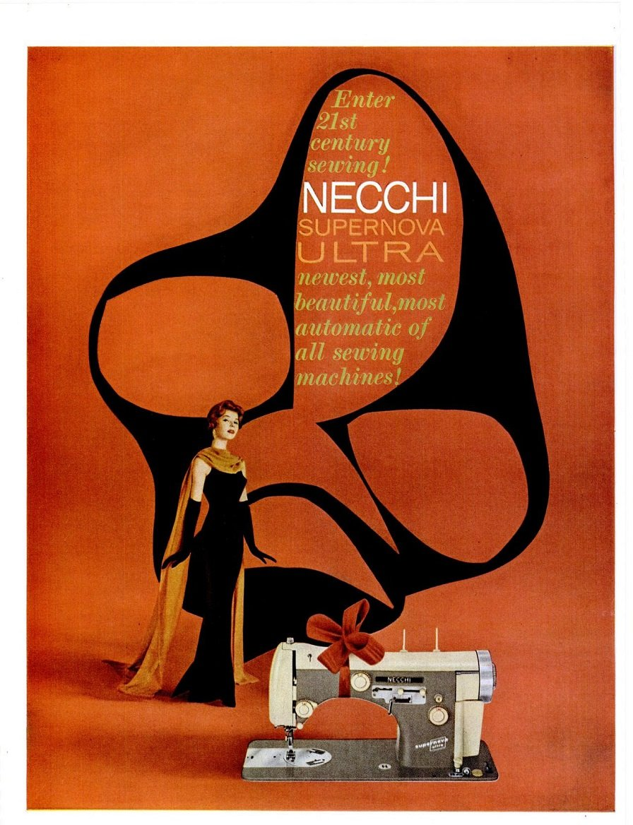 Amazon.com : 1958 NECCHI SUPERNOVA ULTRA SEWING MACHINE Enter 21st Century Sewing! LARGE VINTAGE COLOR AD - USA - FABULOUS ORIGINAL!!