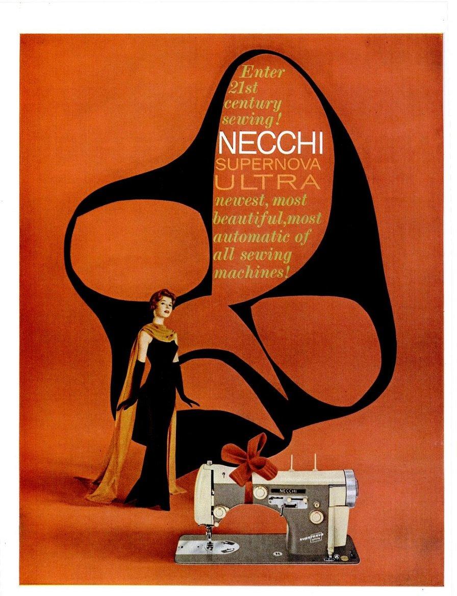 Amazon.com : 1958 NECCHI SUPERNOVA ULTRA SEWING MACHINE Enter 21st Century Sewing! LARGE VINTAGE COLOR AD - USA - FABULOUS ORIGINAL!!