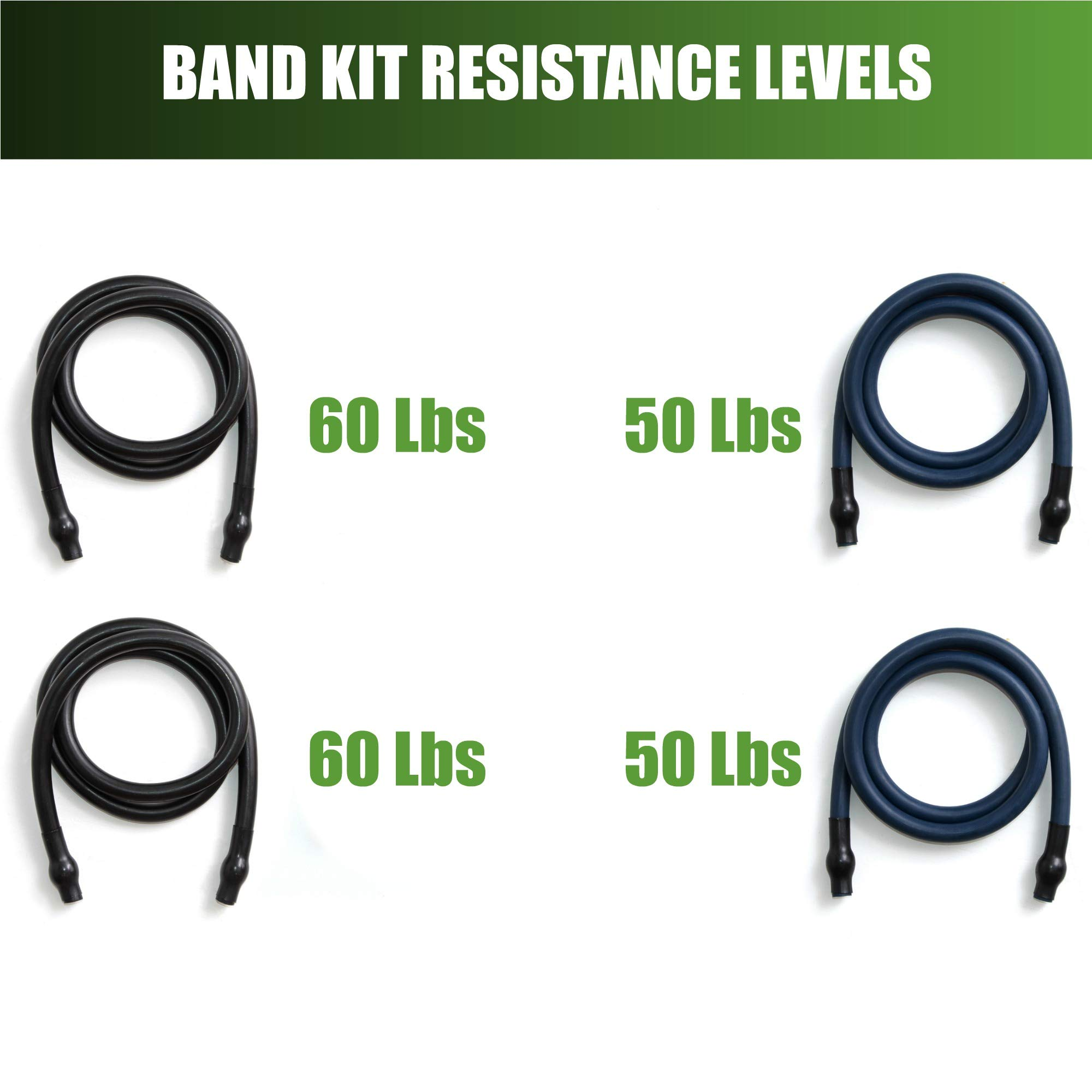 Gorilla Bow Portable Home Gym Resistance Band System - Heavy Set | Weightlifting & HIIT Interval Training Kit | Full Body Workout Equipment (Heavy Set - Black) by Gorilla Fitness (Image #7)