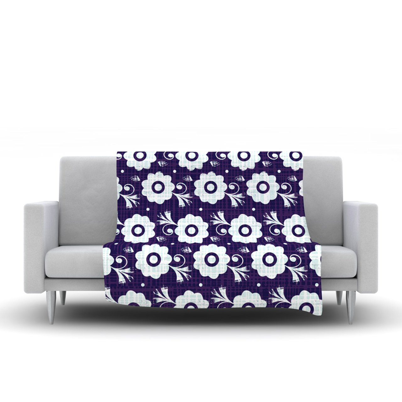 40 x 30 Kess InHouse Louise Machado Navy Flower Purple White Fleece Throw Blanket