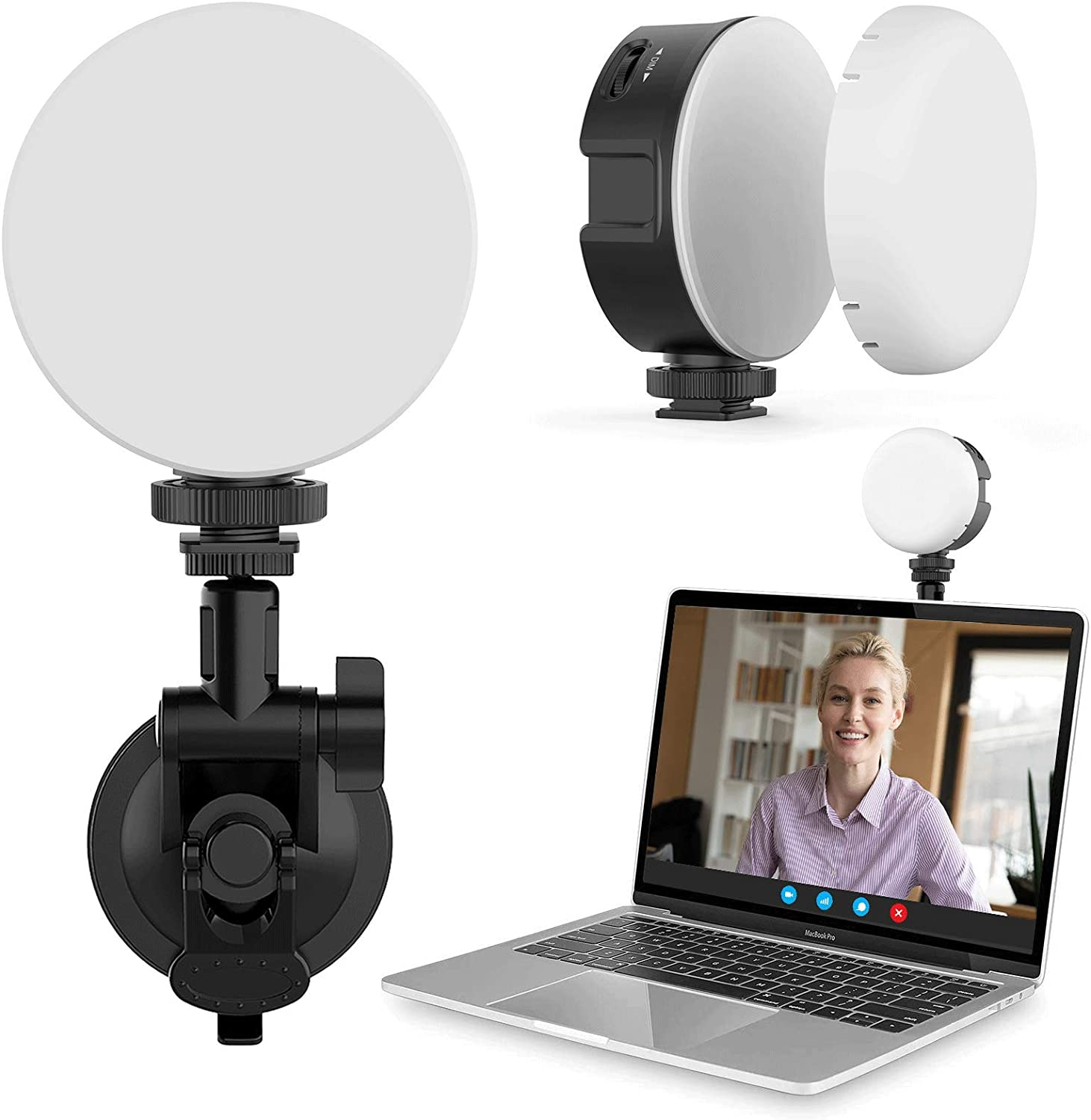 Laptop Light for Video Conferencing,Video Conference Lighting Kit with Strong Suction Cup,Computer Light for Zoom Calls Self Broadcasting Live Streaming Remote Working Compatible with MacBook IPad