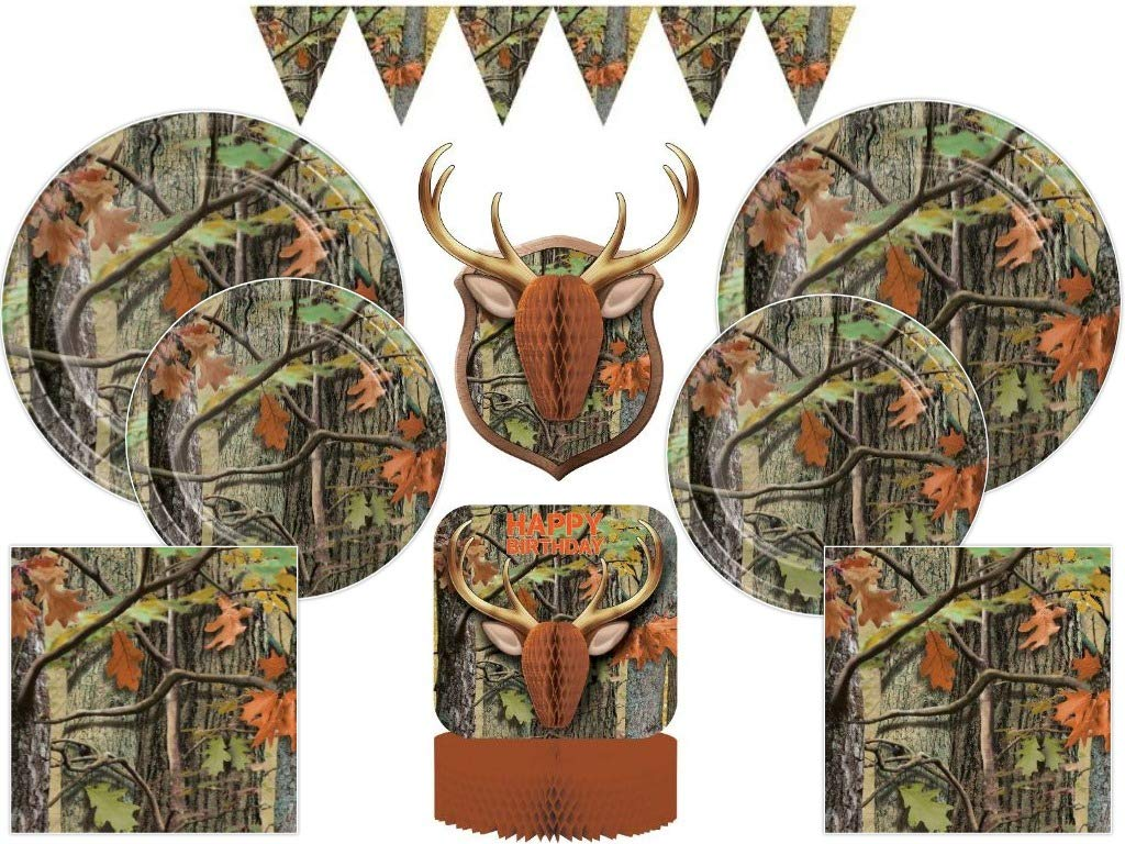 Hunting Camo Ultimate Birthday Party Tableware and Decoration Pack for 24 Guests (82 Pcs)