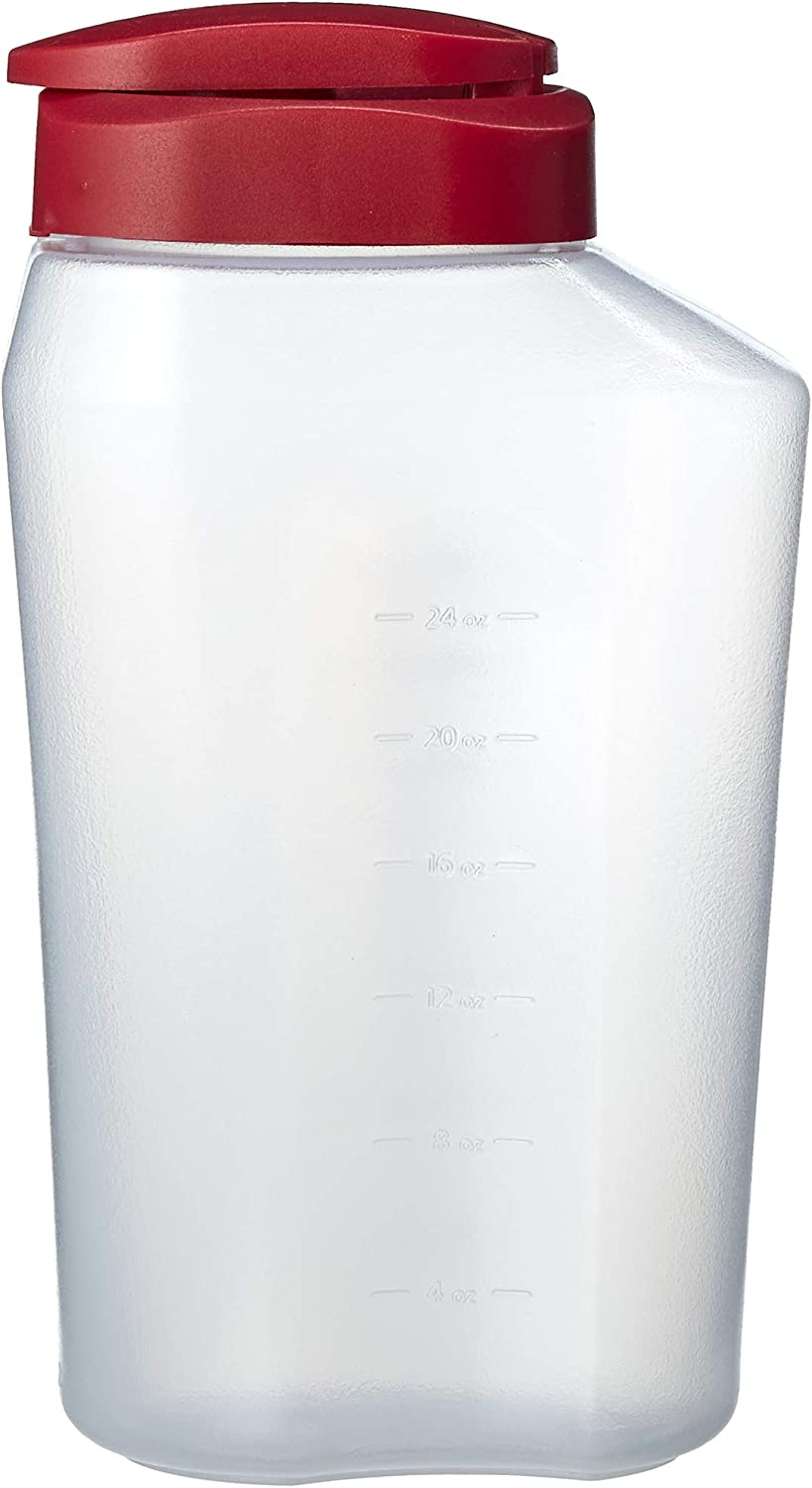 Goodcook 1 quart mixing easy pour bottle with measurments rounded grip, Tighten Square Cap with snap Lock Cap, clear and red