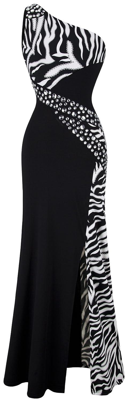 Angel-fashions Women's One Shoulder Zebra Gemstones Stitching Evening Dress