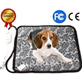 Pet Heating Pad, Dog Cat Electric Heating Pad Indoor Waterproof Adjustable Warming Mat with Chew Resistant Steel Cord