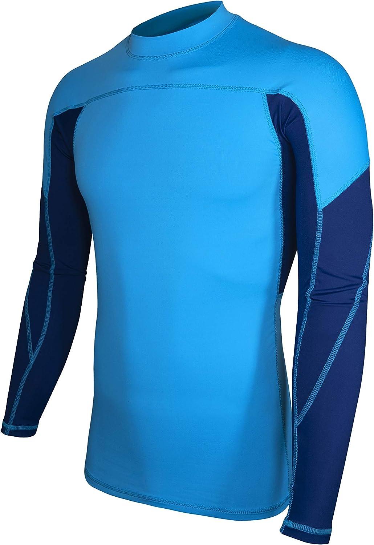 ALLEZ Men's Long Sleeve Rash Guard Dual Tone Athletic Design Tops Swimwear UPF 50+ Sun Protection Swim Shirts