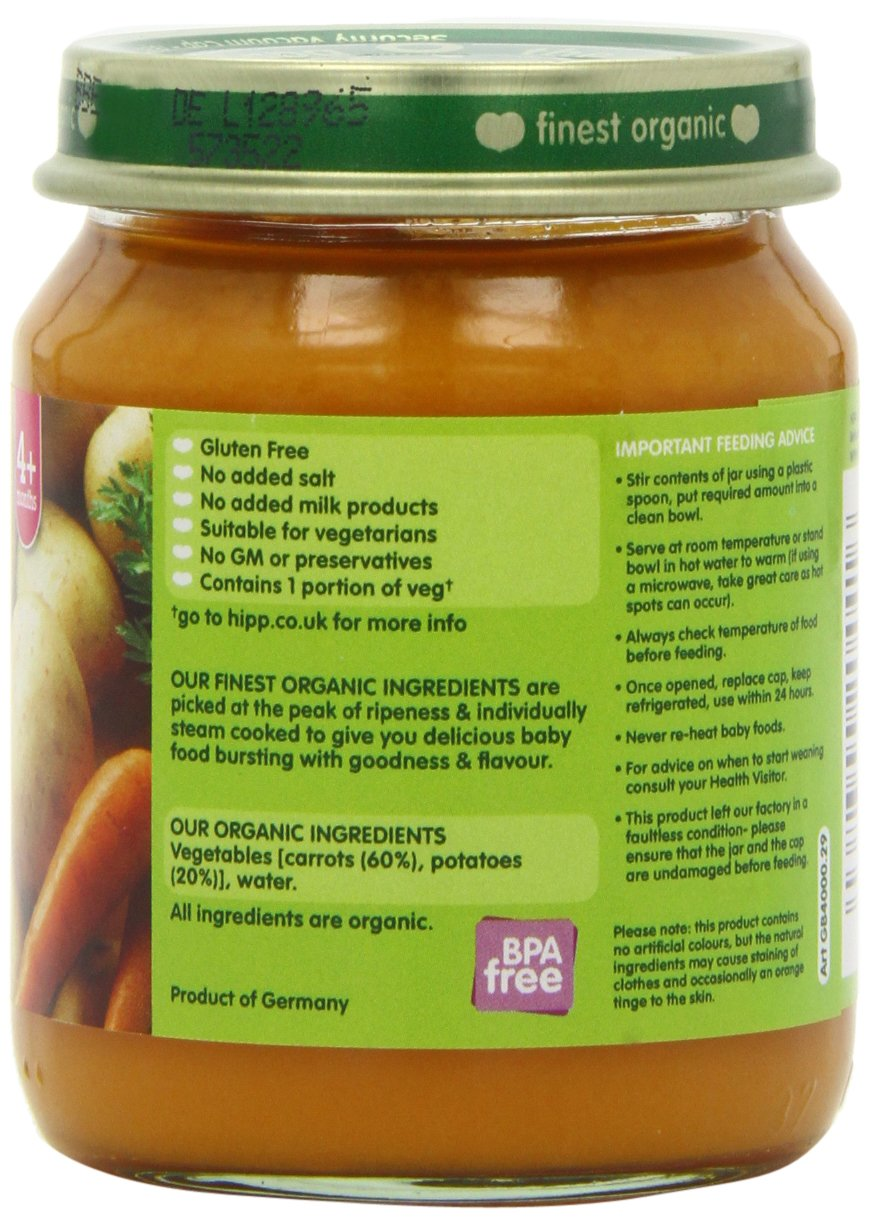HiPP Organic Stage 1 From 4 Months Tender Carrots and Potatoes 6 x 125 g (Pack of 2, Total 12 Pots): Amazon.es: Alimentación y bebidas