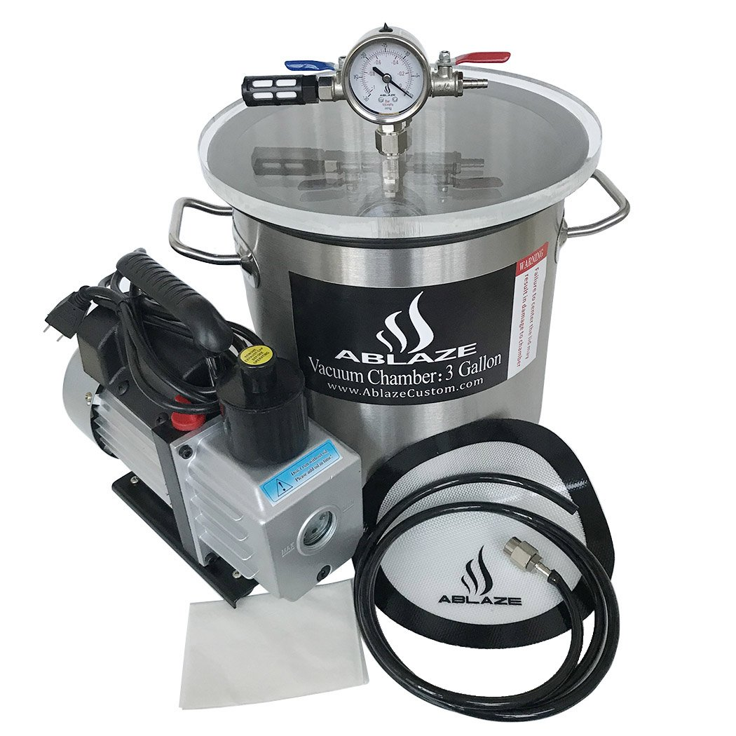 ABLAZE 3 Gallon Stainless Steel Vacuum Degassing Chamber and 3 CFM Single Stage Pump Kit by Ablaze (Image #3)