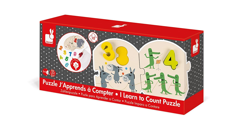 Janod - Puzzle de madera y cartón Números Aprendizaje, 100 x ...