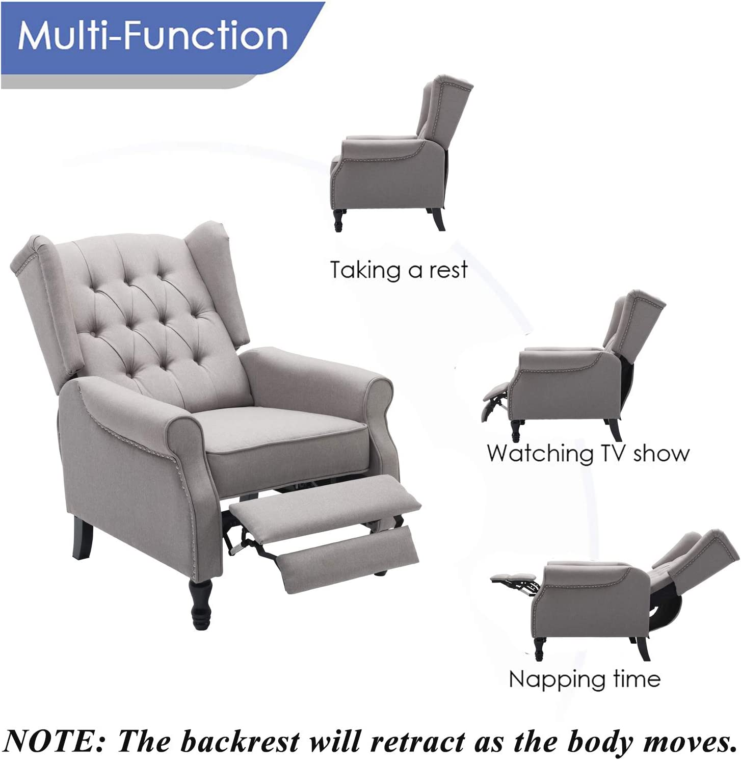 Artechworks Tufted Fabric Push Back Arm Chair Recliner Single Reclining Fabric for Adjustable Club Chair Home Theater Padded Seating Living Room Lounge Modern Sofa(Grey)