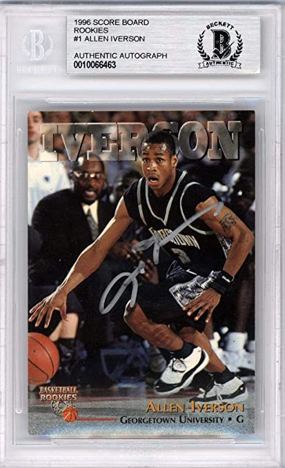 Allen Iverson Autographed 1996 97 Score Board Rookies Rookie