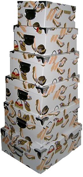 Vilys House Set De 6 Cajas Cartón Decoradas marroquineria con Tiradores metalicos y cantoneras