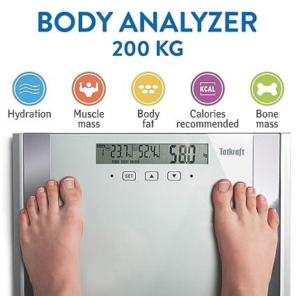 Tatkraft Fitness Bilancia Digitale per Analizzare Grasso Corporeo e Muscoli  200 kg   440 LBS 98732397834
