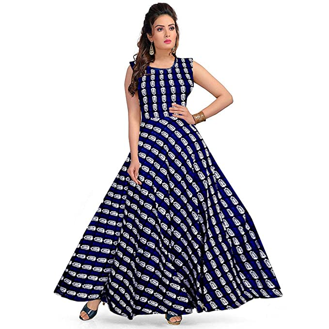 2962267403e Mudrika Women Fit and Flare Rayon Fabric Printed A-Line Maxi Midi Western  Long Gown Dress  Amazon.in  Clothing   Accessories