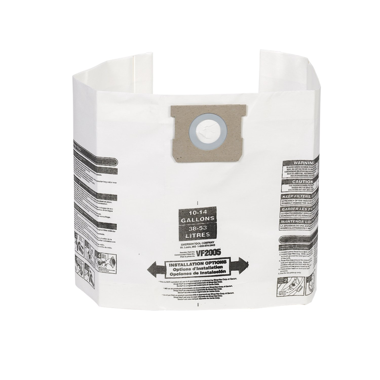 Multi-Fit Wet Dry Vacuum Bags VF2005 General Dust Filter Bag (3 Shop Vacuum Bags), Bag Filter For Most 10-Gallon To 14-Gallon Shop-Vac, Genie Shop Vacuum Cleaners