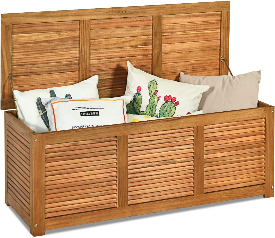 Tangkula 47 Gallon Acacia Wood Deck Box, Garden Backyard Storage Bench, Outdoor Storage Container for Patio Furniture Cushions and Gardening Tools Natural