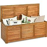 Tangkula 47 Gallon Acacia Wood Deck Box, Garden Backyard Storage Bench, Outdoor Storage Container for Patio Furniture…